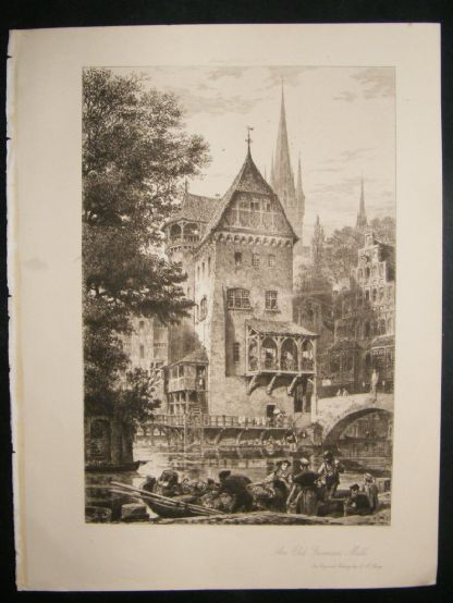 A.H.Haigg  1890's etching. 'An Old German Mill'. Art Journal | Albion Prints